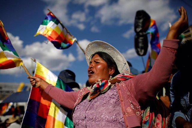 Manifestación a favor del ex presidente boliviano Evo Morales en Cochabamba