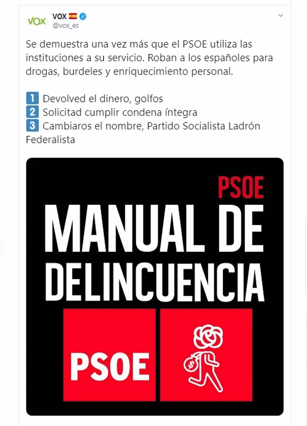 Vox eleva el tono contra el PSOE tras la sentencia de los ERE: