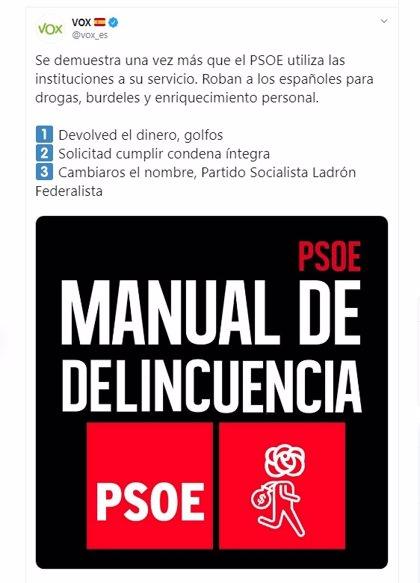 """Vox eleva el tono contra el PSOE tras la sentencia de los ERE: """"Devolved el dinero, golfos"""""""