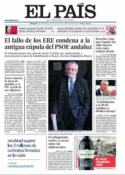 Las portadas de los periódicos del miércoles 20 de noviembre de 2019