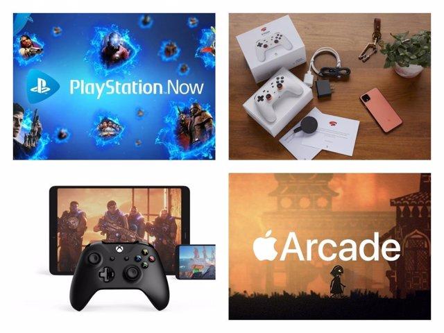 Los principales servicios de videojuegos por streaming: PlayStation Now, Google Stadia, Project xCloud y Apple Arcade (de izquierda a derecha y de arriba a abajo).