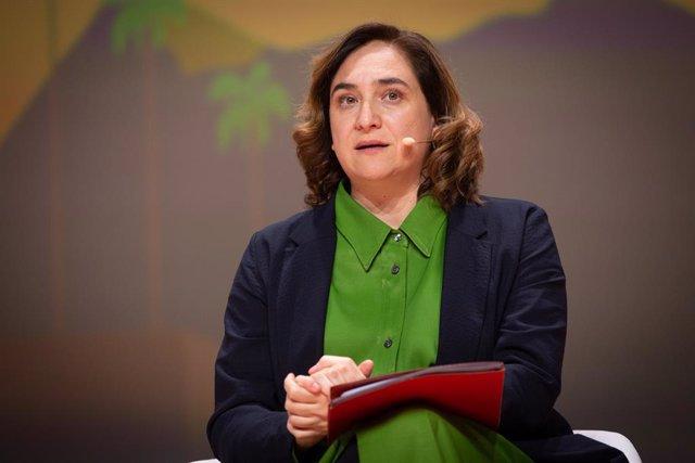 L'alcaldessa de Barcelona, Ada Colau, durant la seva intervenció en la inauguració de la Smart City Expo World Congress 2019, Barcelona, el 19 de novembre del 2019.