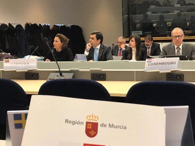 El consejero de Fomento e Infraestructuras, José Ramón Díez de Revenga, durante la reunión del Foro Europeo del Corredor Mediterráneo celebrada en Bruselas