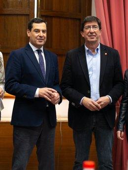 El president i el vicepresident de la Junta d'Andalusia, Juanma Moreno i Juan Marín.