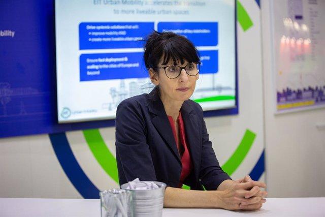 La CEO d'EIT Urban Mobility, Maria Tsavachidis, durant una entrevista d'Europa Press sobre la iniciativa EIT Urban Mobility, Barcelona el 19 de novembre del 2019.