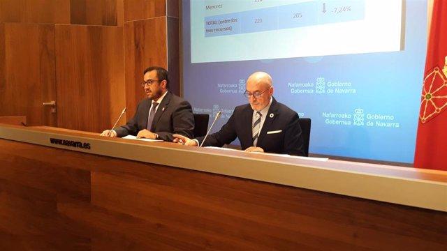 Javier Remírez y Juan Cruz Cigudosa, en la rueda de prensa tras la sesión de Gobierno