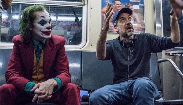 Joaquin Phoenix y Todd Phillips en el rodaje de Joker