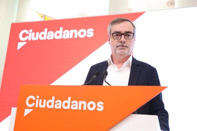 El secretari general de Ciutadans, José Manuel Villegas, durant la roda de premsa que va oferir després de la reunió del comitè permanent de Ciutadans, una setmana després que Albert Rivera dimitís com a president del partit i es retirés de la política.