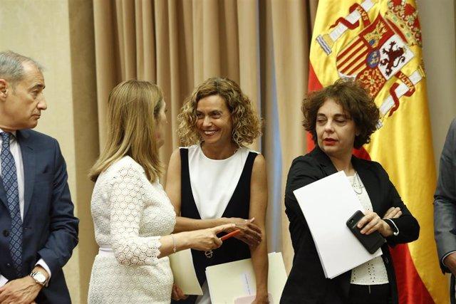 Ana Pastor, Meritxell Batet y Gloria Elizo, miembros de la actual Mesa del Congreso.