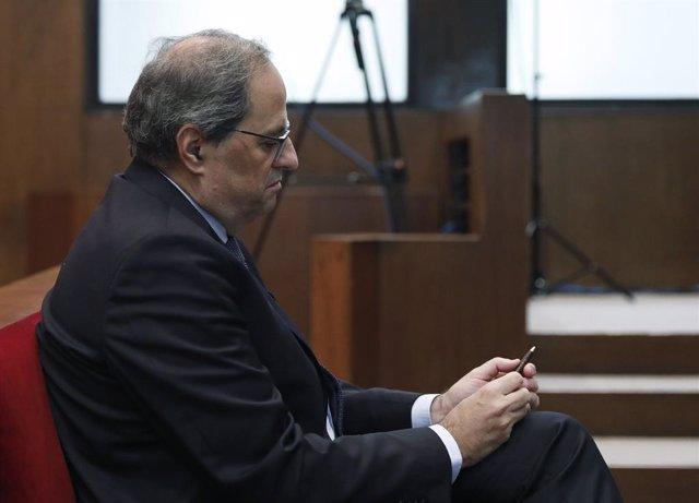 El president de la Generalitat, Quim Torra, al banc dels acusats del Tribunal Superior de Justícia de Catalunya, 18 de novembre del 2019.