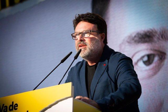 Joan Josep Nuet en un míting d'ERC a Sabadell.