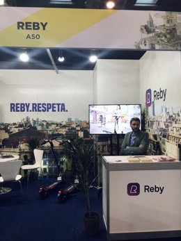 Stand de Reby en el Smart City Expo 2019, en el recinto Gran Via de Fira de Barcelona, en L'Hospitalet de Llobregat (Barcelona), en noviembre de 2019