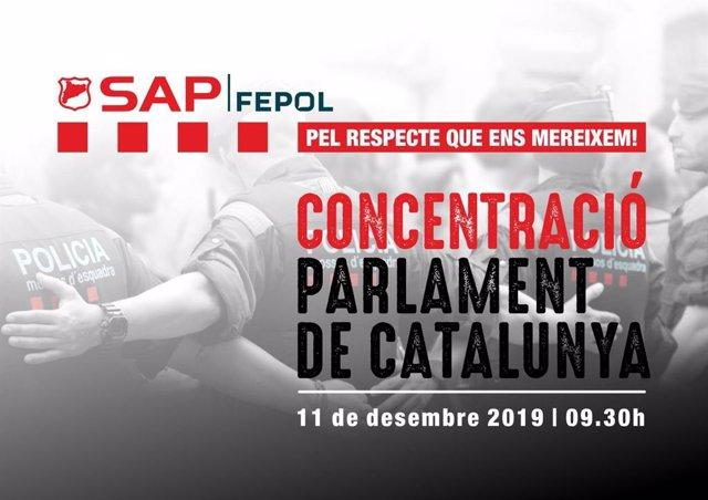 """Convocatòria del sindicat de Mossos d'Esquadra Sap-Fepol d'una protesta davant el Parlament l'11 de desembre pel """"abandonament"""" polític del cos i la millora de les condicions laborals."""