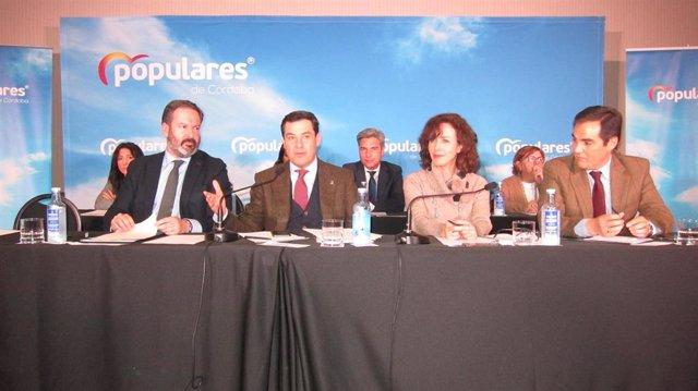 Juanma Moreno preside la Junta Directiva del PP cordobés