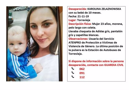 Piden ayuda para localizar a una mujer, víctima de violencia machista, y a su bebé desaparecida en Torrevieja (Alicante)