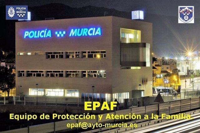 Imagen del Cuartel de la Policia Local de Murcia e información del Equipo de Protección a la Familia