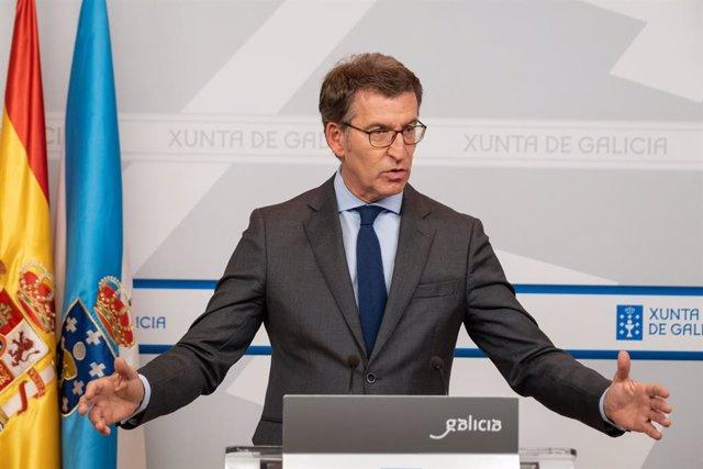 El president de la Xunta, Alberto Núñez Feijóo, en roda de premsa després del Consello de la Xunta del 24 d'octubre.
