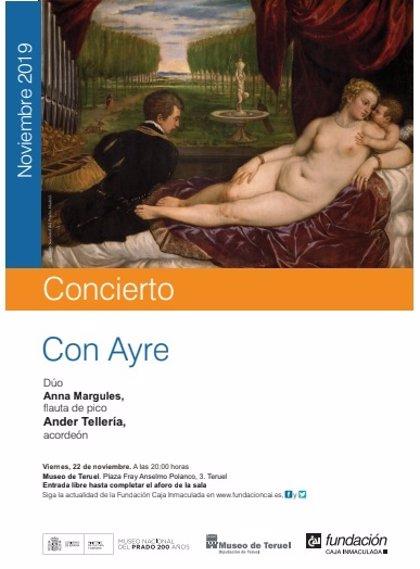 El Museo de Teruel acoge el concierto 'Con Ayre' como parte de las actividades en torno a Tiziano y el Renacimiento