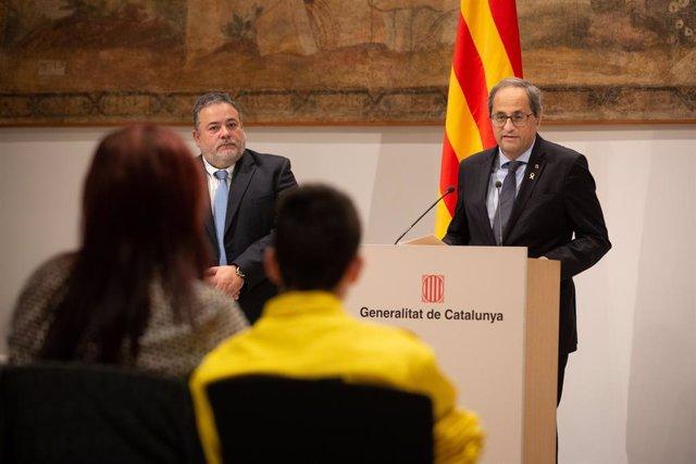 El president Quim Torra rep l'alcalde d'Avinyonet del Penedès César Herráiz i els familiars del forestal que va morir