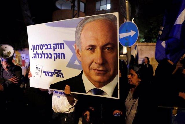 Manifestación de apoyo a Benjamin Netanyahu