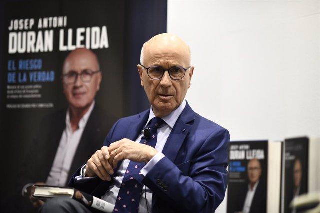 L'exdiputat de Convergència i Unió (CiU), Josep Antoni Duren i Lleida, durant la presentació del seu llibre (arxiu).