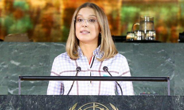 Millie Bobby Brown durante su discurso ante la ONU