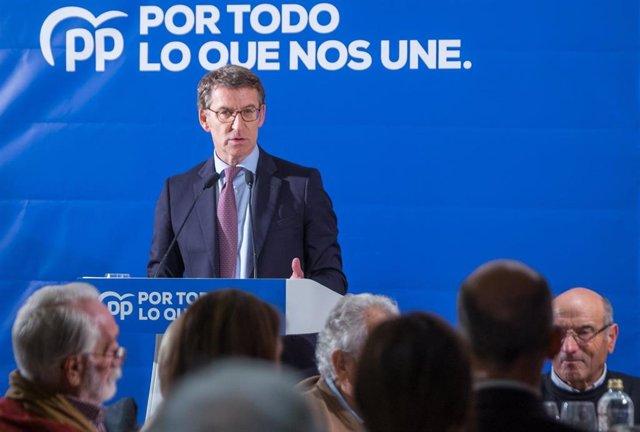 El líder del PPdeG, Alberto Núñez Feijóo, interviene en el mitín en Santiago de Compostela
