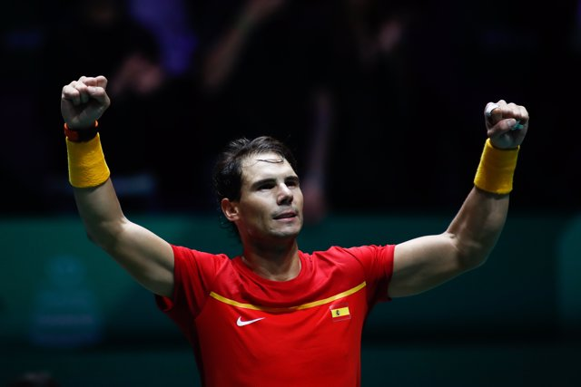 Rafael Nadal of Spain celebrates after wins his match played against Borna Gojo of Croatia during the Day 3 of the 2019 Davis Cup at La Caja Magica on November 20, 2019 in Madrid, Spain.