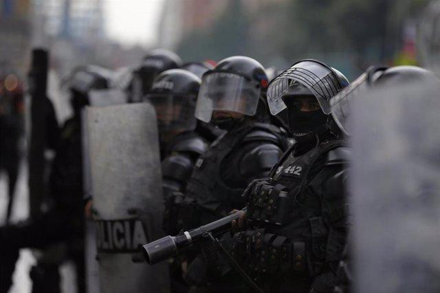 Fuerzas de seguridad colombianas durante las protestas.
