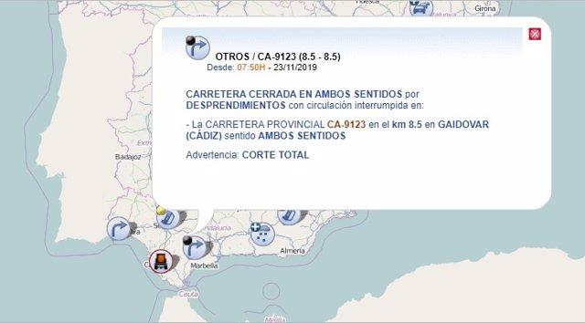 Mapa de la DGT que informa del corte al tráfico