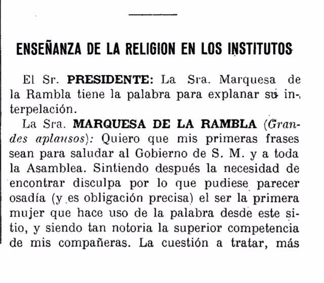 Diario de Sesiones con la intervención de la primera parlamentaria que habló ante el hemiciclo del Congreso
