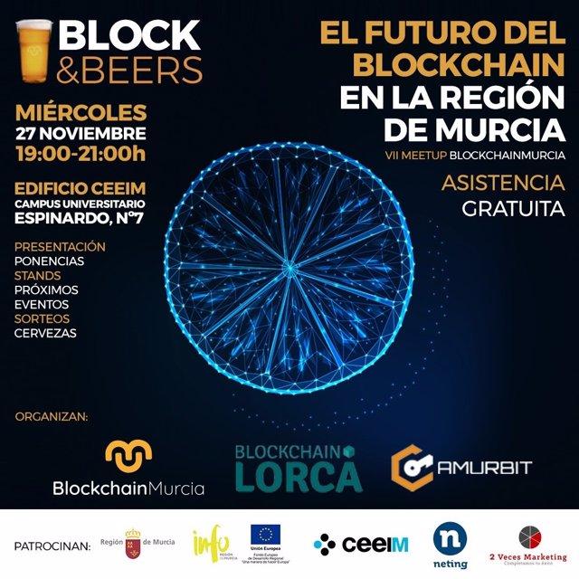 Cartel del meetup sobre blockchain