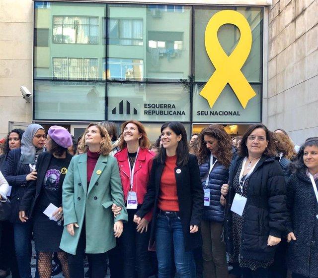 La portaveu d'ERC, Marta Vilalta, abans de participar en l'assemblea anual de dones del partit.