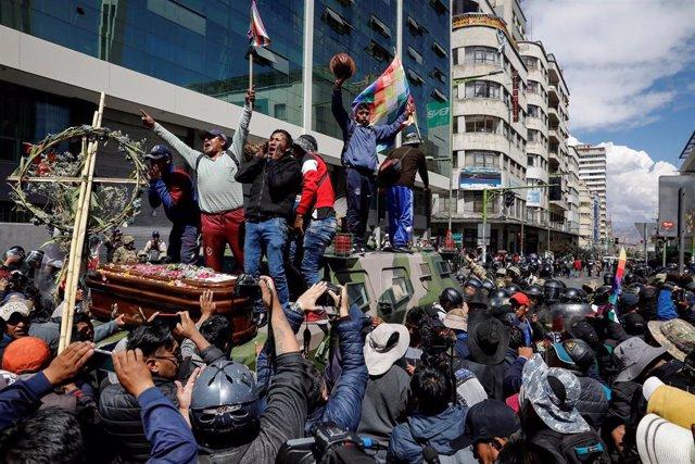 Manifestación a favor de Evo Morales en La Paz