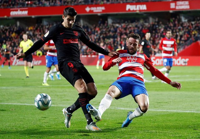 Álvaro Morata, en un partido con el Atlético de Madrid.