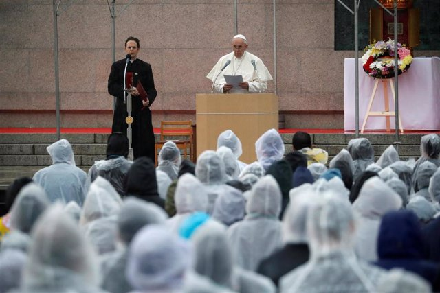 El Papa Francisco durante su discurso contra las armas nucleares en Nagasaki.