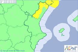 Avisos por viento del domingo, 24 de noviembre, en la Comunitat Valenciana