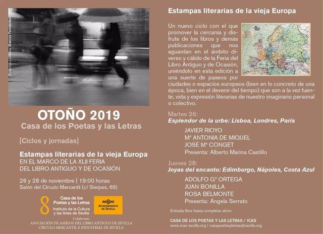 Casa de los Poetas recala en la Feria del Libro Antiguo con el ciclo 'Estampas literarias de la vieja Europa'