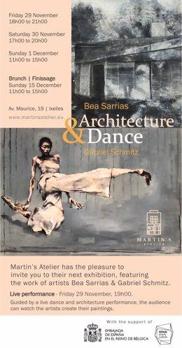 Cartel de la exposición de los pintores Bea Sarrias y Gabriel Schmitz en Ixelles (Bruselas) en diciembre de 2019