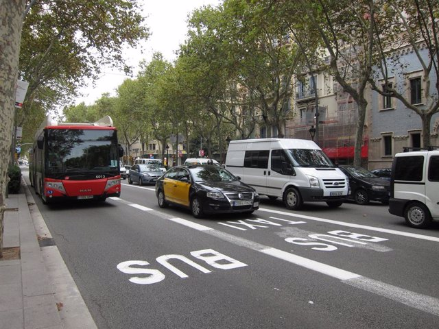 Carril bus, Gran Via, Barcelona.