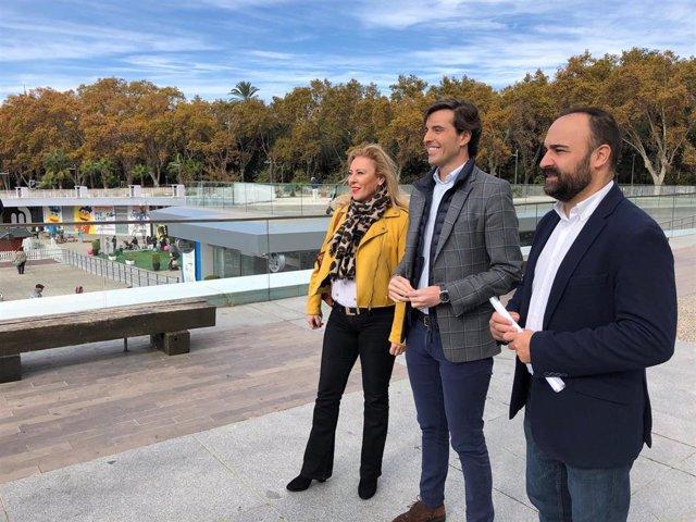 Los diputados del PP por Málaga Carlina España, Pablo Montesinos y Mario Cortés