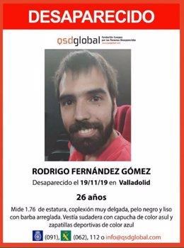 Imagen con los datos del desaparecido en Valladolid.