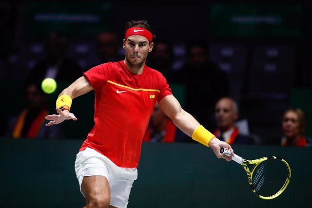 Rafael Nadal of Spain in action during the final match against Denis Shapovalov of Canada during the Day 7 of the 2019 Davis Cup at La Caja Magica on November 24, 2019 in Madrid, Spain.
