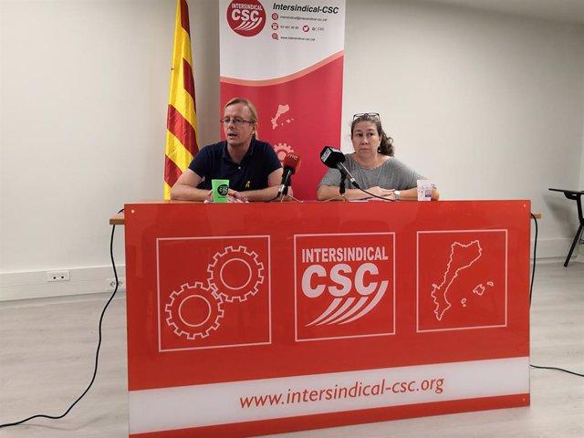 Sergi Perelló i Núria Ferràndis (Intersindical-CSC) (arxiu)