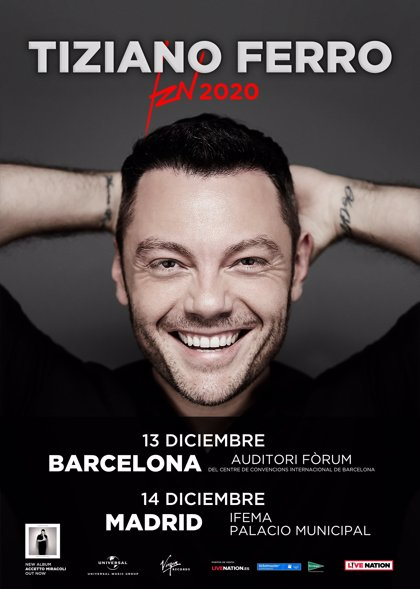 Tiziano Ferro anuncia concerts a Barcelona i a Madrid