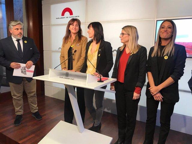 Albert Batet, Laura Borràs, Aurora Madaula, Elsa Artadi i Miriam Nogueras (JxCat).