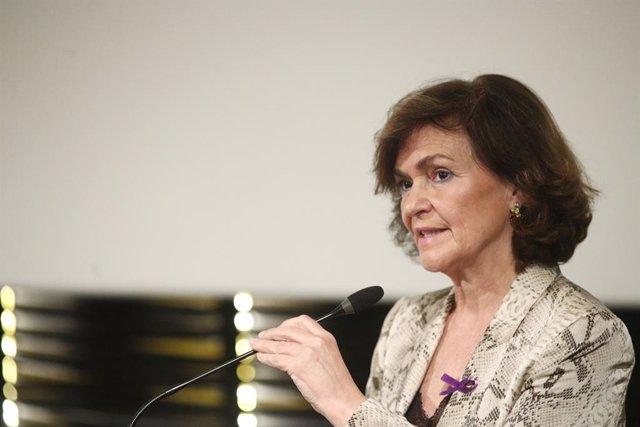 La vicepresidenta del Govern central en funcions, Carmen Calvo, presideix l'entrega de reconeixements contra la Violència de Gènere, Madrid (Espanya), a 25 de novembre del 2019.