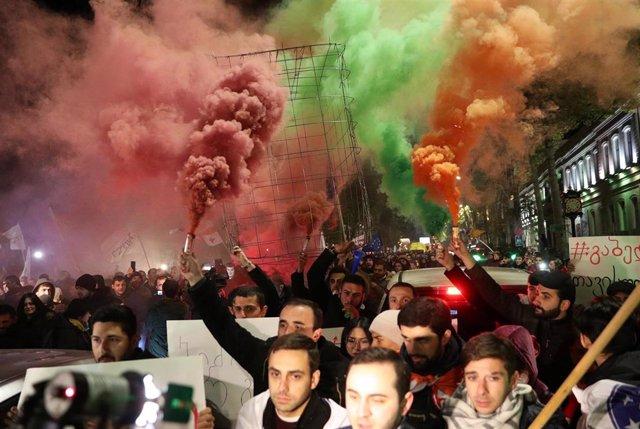 Manifestación contra el Gobierno en Tibilisi