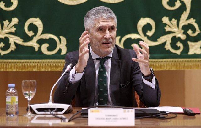 El ministre de l'Interior en funcions, Fernando Grande-Marlaska, durant una intervenció.