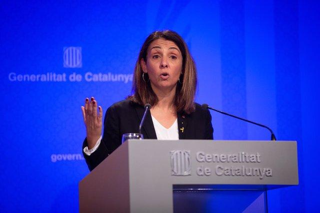 La consellera de Presidència i portaveu del Govern, Meritxell Budó en roda de premsa del Consell Executiu de la Generalitat, a Barcelona (Espanya), 26 de novembre del 2019.